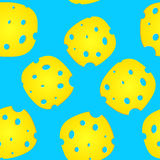 Plates of cheese. Over blue background Stock Photography