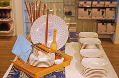 Plates and Chopstick Set stock photography