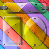 Plates on the Colorful Wooden Planks Royalty Free Stock Images