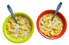 Plates with corn flakes. Royalty Free Stock Image