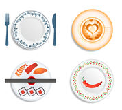 Plates and cup. For the traditional, japanese, mexican cuisine and cafe Stock Images