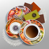 Plates and cup of coffee. Vector illustration with plates and cup of coffee with floral ornaments Stock Photo