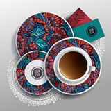 Plates and cup of coffee Royalty Free Stock Photo