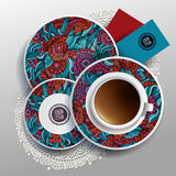 Plates and cup of coffee Stock Photos