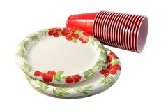 Plates and cups for outdoor party Royalty Free Stock Photos