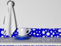 The plates, cups and towels Stock Photography