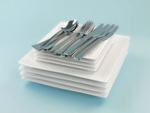Plates and Cutlery Royalty Free Stock Photo