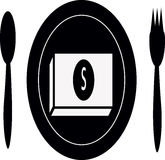 Plates, cutlery. Dish has put money in it Stock Image