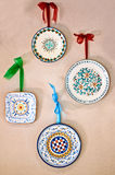 Plates decorated by hand made in Italy. Beautiful ceramic tableware, hand-decorated by master Italian artisans Stock Image