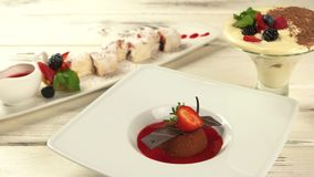 Plates with desserts. stock video footage
