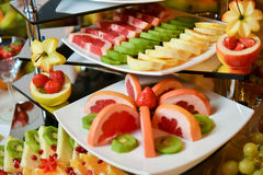 Plates with different type of fruits Royalty Free Stock Photo