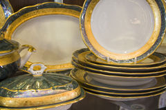 Plates of  dining tableware set Stock Photos