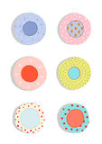 Plates and Dishes Ceramics Colorful Fun Set Stock Images