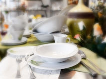 Plates and dishes in store. Photo of the plates and dishes in store stock photo
