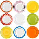 Plates or dishes top view set isolated Royalty Free Stock Images
