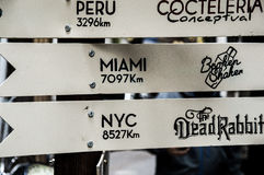 Plates with distances to locations Stock Images