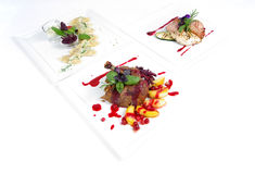 Plates of fine dining meal. Niceley decorated fine dining meals Royalty Free Stock Image