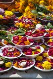 Plates of flowers and candles. Carpet of colorful plates of flowers and candles Stock Images