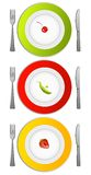Different diets. Three plates with berries and peas Stock Images
