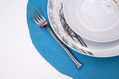 Plates and fork Royalty Free Stock Photography