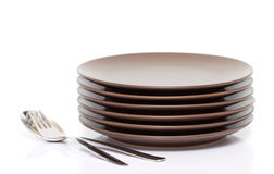 Plates, fork, spoon Royalty Free Stock Photography