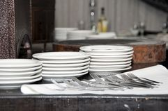 Plates and forks Stock Image