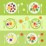 Plates with fruits and vegetables. Lunch time. Vector illustration Royalty Free Stock Image