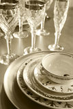 Plates and glasses Royalty Free Stock Photos