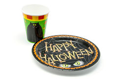 Plates and glasses  for  Halloween Royalty Free Stock Image