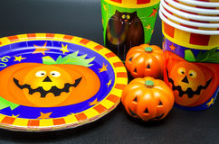 Plates and glasses for Halloween Stock Photography