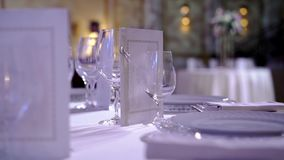 Plates and glasses in restaurant. At the event party stock footage