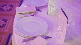 Plates and glasses in restaurant. At the event party stock video
