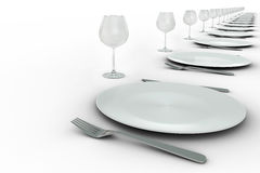 Plates and glasses settings in row. Plates and glasses settings in diagonal row on white background Stock Image