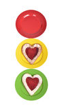 Plates with heart shaped bakery/ cakes Royalty Free Stock Images