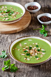 Plates Of Homemade Pea Soup Stock Images