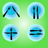 Knife Spoon Plate Flat Style Element Vector Illustration. Plate and Cover Isolated On green Background. Vector object for Labels. Plates, knives and forks on Royalty Free Stock Image
