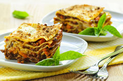 Plates of lasagna royalty free stock images
