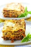 Plates of lasagna Stock Photos