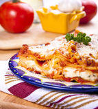 Plates of lasagna Stock Photography