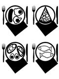 Plates with meal. A pizza, a fish, a sandwich, fried eggs in a vector Royalty Free Stock Photo