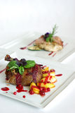 Plates Of Fine Dining Meal Royalty Free Stock Images