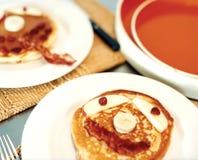 Plates of pancakes Stock Photo