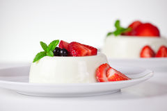 Plates Of Panna Cotta Stock Image