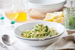 Plates Of Pasta With Homemade Pesto Royalty Free Stock Image