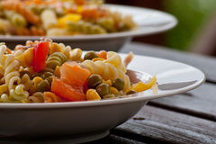 Plates with pasta salad Royalty Free Stock Image