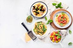 Plates of pasta. Top view with copy space stock images