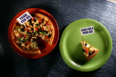 Plates with pizza Royalty Free Stock Photography