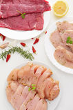 Plates with raw meat on a white table. Some plates with different raw meat such as turkey fillets, and chicken and beef meat, on a white table Royalty Free Stock Photo