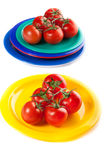 A plates of red tomatoes isolated on white Royalty Free Stock Photo