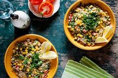 Plates Of Refreshing Summer Bulgur Salad Stock Photos